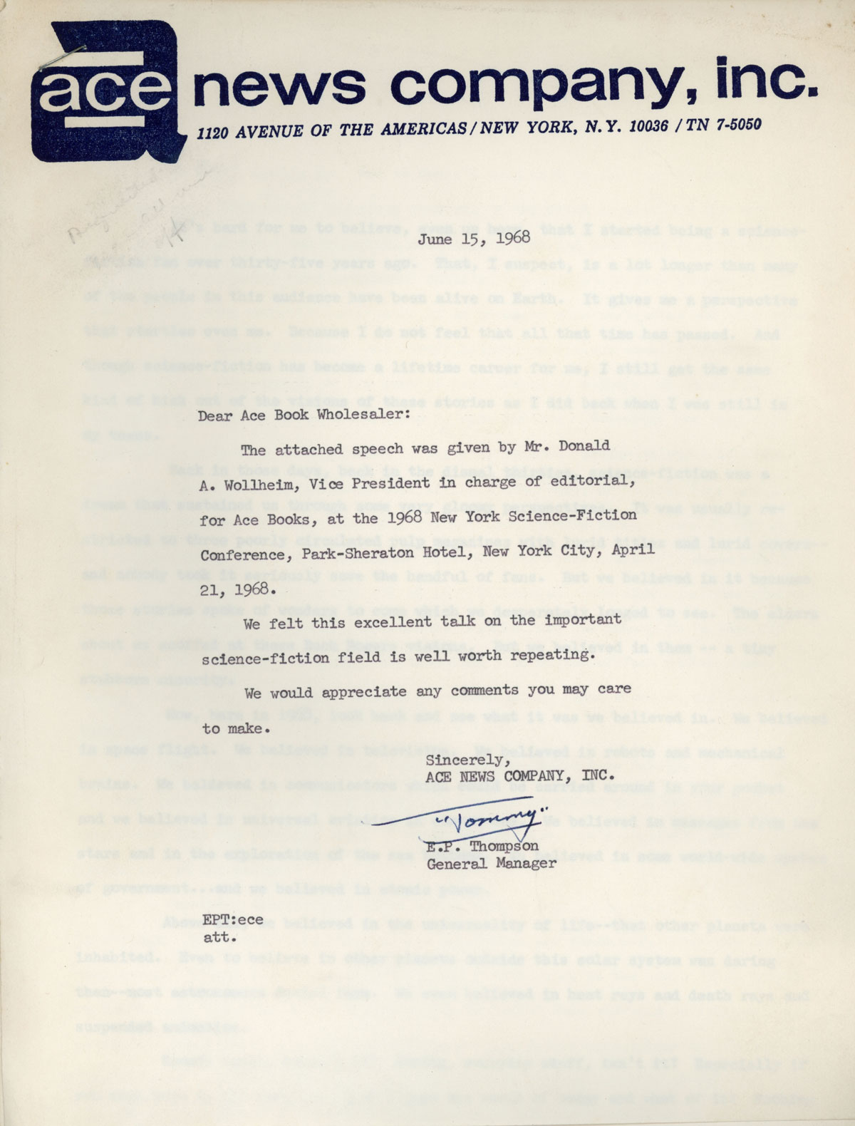 SPEECH TO THE 1968 NEW YORK SCIENCE FICTION CONFERENCE