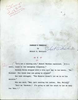 """FARNHAM'S FREEHOLD"" [novel]. TYPED MANUSCRIPT, SIGNED (TMsS), the first third of the novel , first carbon copy. Robert A. Heinlein."