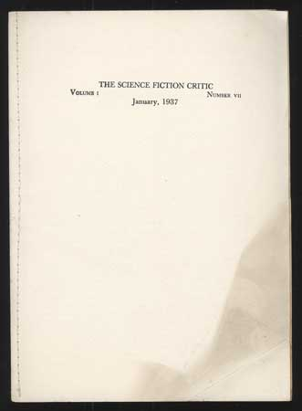 SCIENCE FICTION CRITIC. January 1937 ., Claire P. Beck, number 7 volume 1.