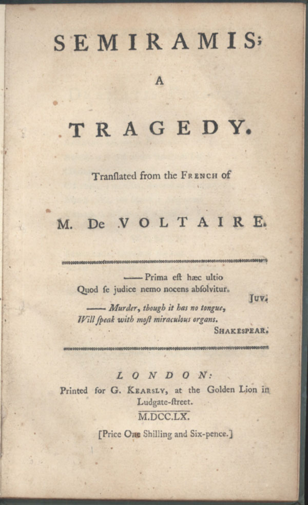 SEMIRAMIS; A TRAGEDY. Translated from the French of M. De Voltaire. François Marie Arouet de Voltaire.
