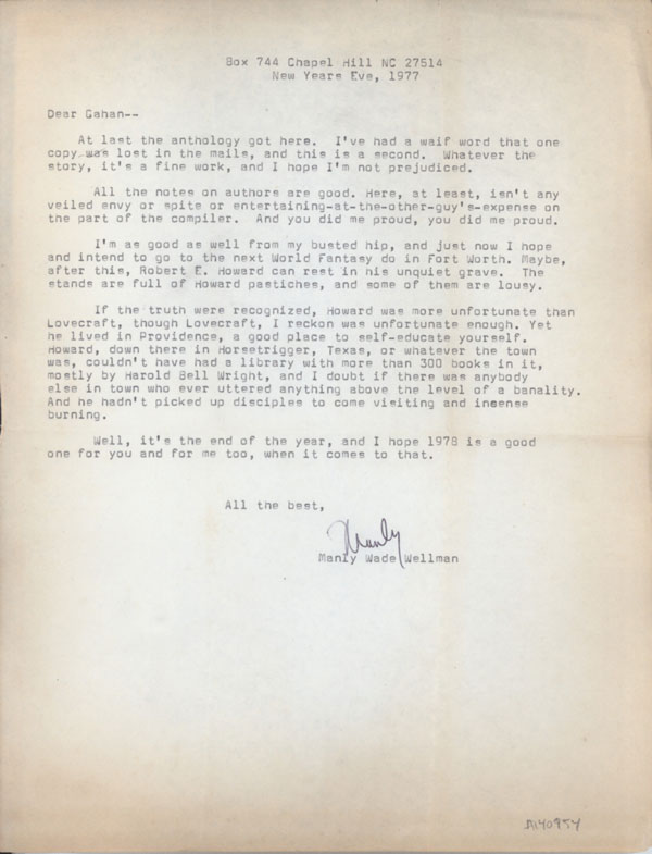TYPED LETTER, SIGNED TLS to Gahan Wilson, 31 December 1977, half-page on  letter-sized bond by Manley Wade Wellman on L  W  Currey, Inc