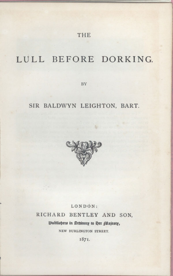 THE LULL BEFORE DORKING.
