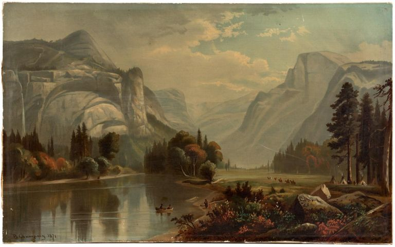 Grandeurs of the Yosemite Valley, California. After B. Champney. Original in the possession of the publisher. BENJAMIN CHAMPNEY.
