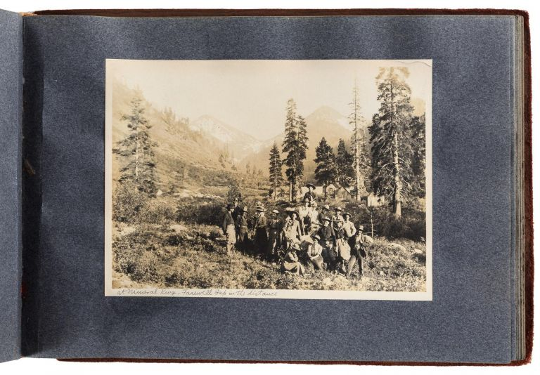 [High Sierra] Album of approximately 108 gelatin silver photographs recording the 1912 Sierra Club Annual Outing to the Kern River Canyon and Mt. Whitney, Volcano Creek, Mineral King, Farewell Gap, and other locations in or near Sequoia National Park. SIERRA CLUB.