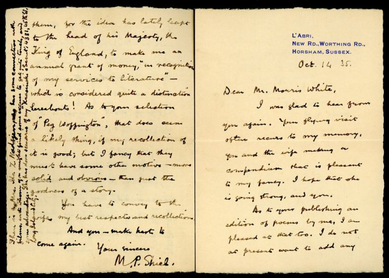 "TWO AUTOGRAPH LETTERS, SIGNED (ALsS), the first 4 pages on small folded octavo sheet with ""L'Abri"" return address, dated 1 May 1935, the other 1 1/2 page on the same stationery, dated 14 October 1935, both to Morris White,"" both signed ""M. P. Shiel."" Matthew Phipps Shiel."