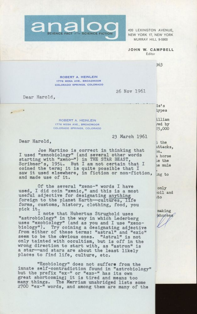 """TWO TYPEWRITTEN LETTERS SIGNED (TLsS), two pages, dated 23 March 1961 and one page, dated 26 November 1961, both written on his Colorado Springs, Colorado stationery, from Heinlein to """"Dear Harold"""" [Wooster], both signed """"Bob,"""" 1 TYPEWRITTEN LETTER SIGNED (TLS), one page, dated 12 July 1963, on ANALOG letterhead, from Campbell to """"Dear Mr. Wooster,"""" signed John W. Campbell, plus carbons of Wooster's letters to Heinlein and Graham DuShane, editor of SCIENCE. Robert A. Heinlein, Jr., John W. Campbell, Harold Abbott Wooster."""