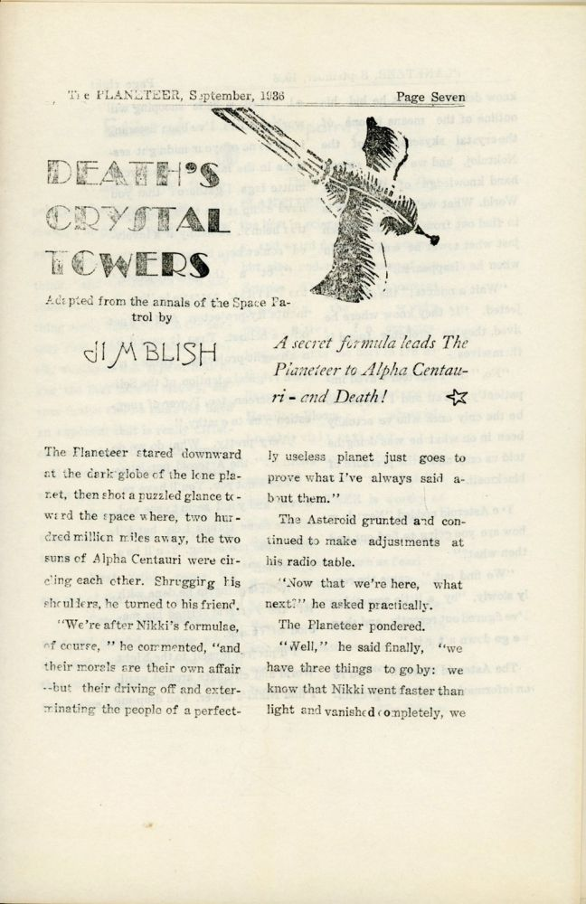 combined, TESSERACT, THE . September 1936 . PLANETEER, James Blish, number 1 volume 2.