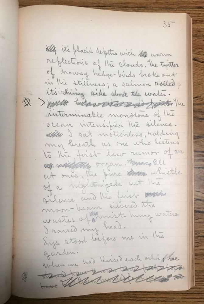 THE MESSENGER [Novelette]. Original handwritten manuscript, corrected throughout in Chambers' hand. 104 pages, written in pencil on the rectos of ruled paper measuring 32x20 cm. Not dated, but written circa 1896-1897. Robert Chambers.