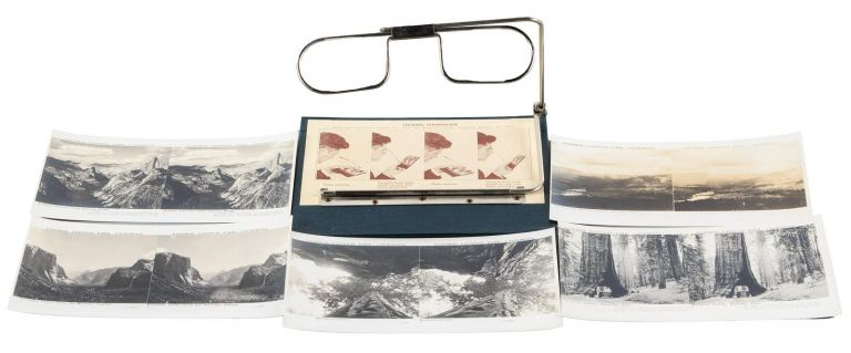 A set of twelve stereoscopic views in Yosemite National Park with folding stereoscope [box title]. CALIFORNIA LABORATORY SUPPLY CO.
