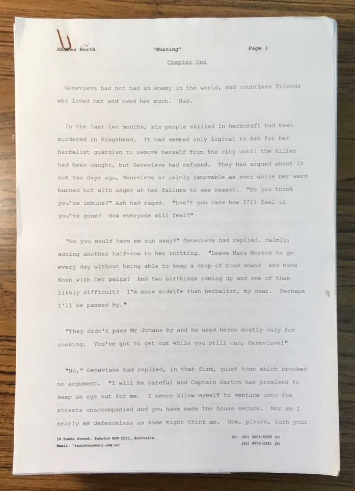 HUNTING [Novel]. Typescript, computer generated in 1997. 517 pages, with submission letter and plot summary from Hösth to Tor Books senior editor David G. Hartwell dated 4 April 1997. Andrea Hösth.