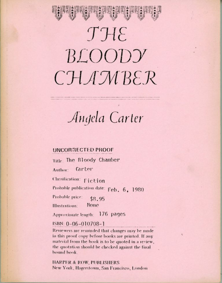 THE BLOODY CHAMBER. Angela Carter.