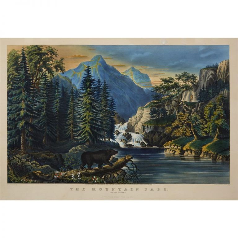 The Mountain Pass. / Sierra Nevada. CURRIER, IVES.