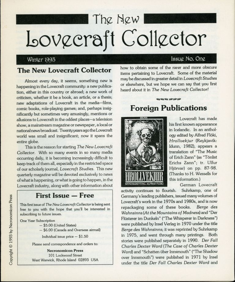 Howard Phillips Lovecraft, THE NEW LOVECRAFT COLLECTOR. Winter 1993-Fall 1998, numbers.