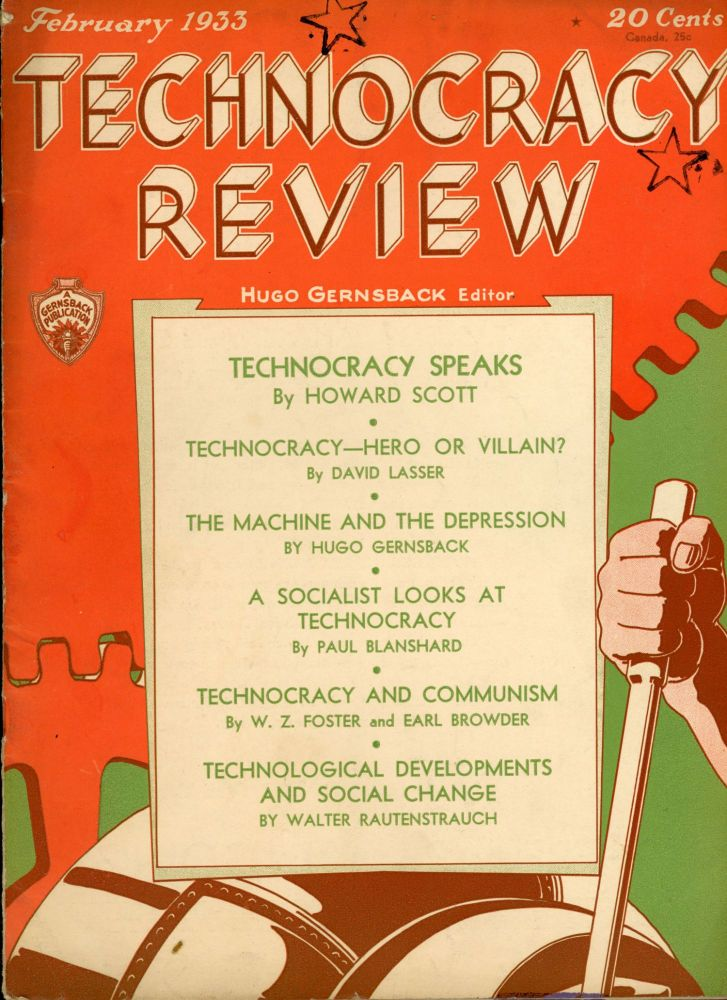 TECHNOCRACY REVIEW. February 1933 . Hugo Gernsback, and publisher, number 1 volume 1.