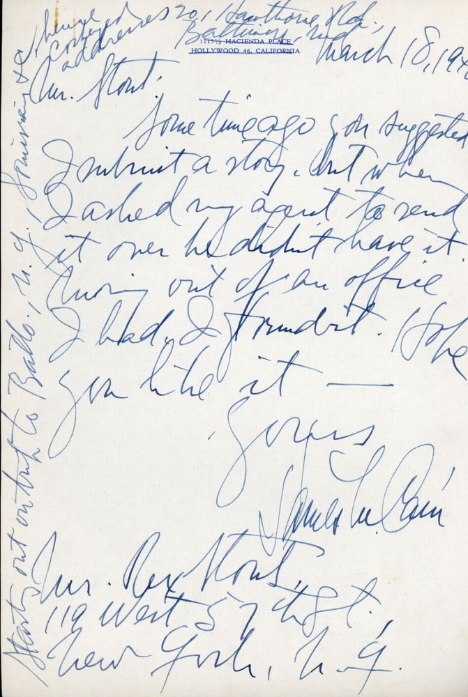 AUTOGRAPH LETTER SIGNED (ALS). 1 page, dated 18 March 1948, to Rex Stout. James M. Cain.