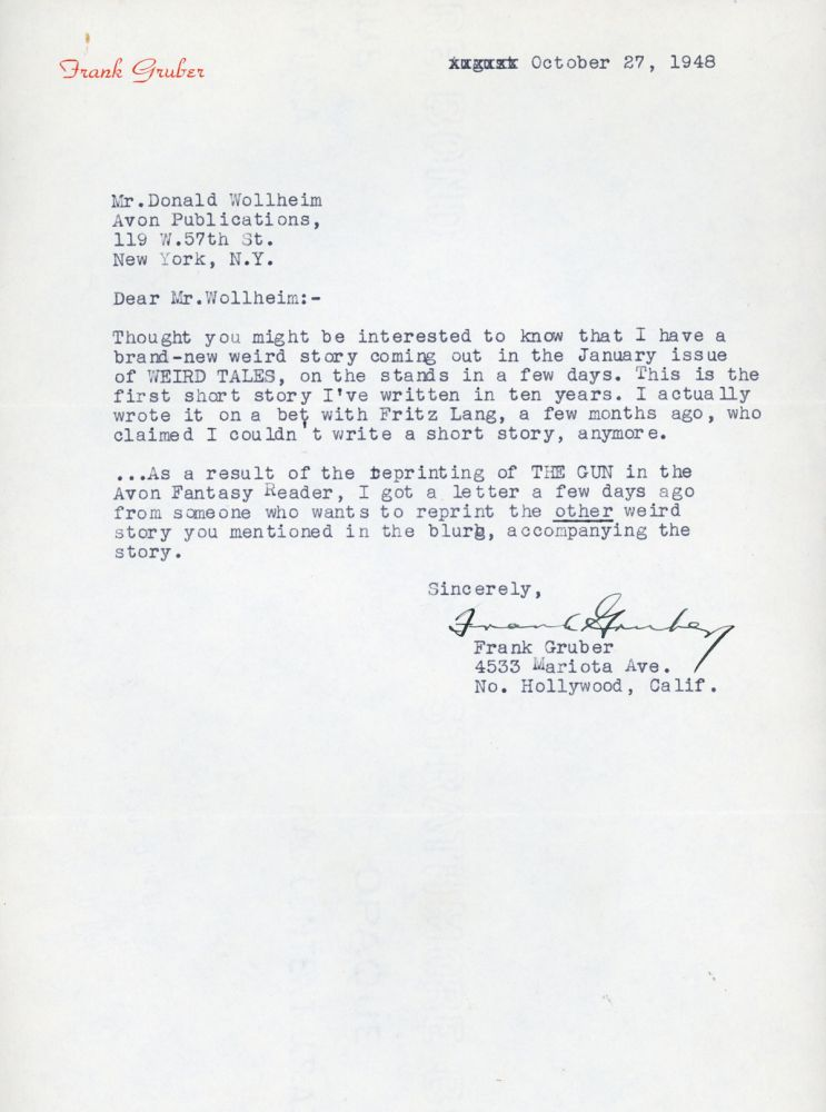 TYPED LETTER SIGNED (TLS). 1 page, dated 27 October 1948 on his Frank Gruber letterhead, to Donald A. Wollheim. Frank Gruber.
