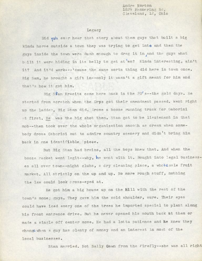 """""""LEGACY"""" [short story]. TYPED MANUSCRIPT (TMs). Andre Norton."""