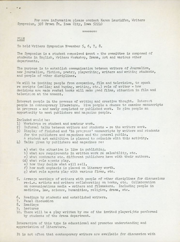 TYPED LETTER SIGNED (TLS). 1 page, dated 18 March 1971, to Ace Books, Inc. On 8 1/2 x 11-inch sheet with University of Iowa letterhead. Donald A. Wollheim, Valerie Kent.