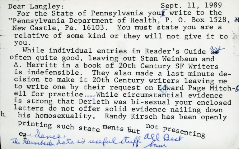 """TYPED NOTE SIGNED (TNS). 1 page, dated 11 September 1989, to """"Dear Langley"""" [A. Langley Searles], signed, """"Sam."""" On 3 1/2 x 5 1/2 inch plain postcard. Sam Moskowitz."""
