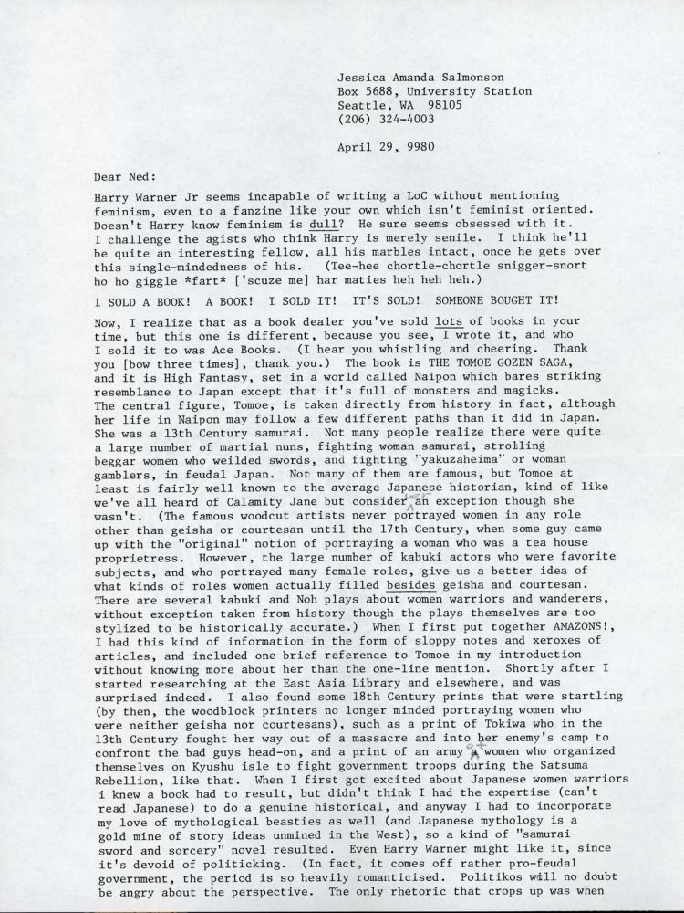 """TYPED LETTER SIGNED (TLS). 2 1/2 pages on three sheets, dated 29 April 1980, to """"Ned"""" (Cuyler Warnell Brooks, Jr.). Signed """"Jessica."""" Jessica Amanda Salmonson."""