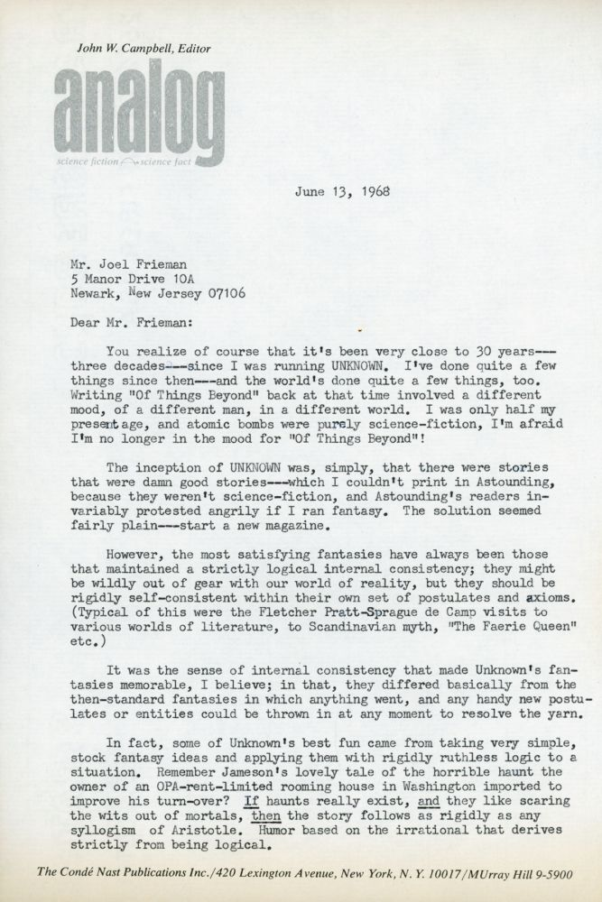TYPED LETTER, SIGNED (TLS). 2 pages on 2 sheets, dated 13 June 1968, to Joel Frieman, on Analog Science Fiction / Science Fact letterhead. John Campbell.