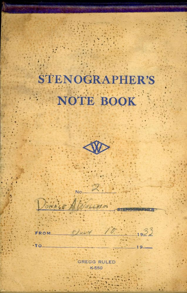 """""""THE MAN FROM ARIEL"""" [short story]. AUTOGRAPH MANUSCRIPT, SIGNED (AMsS). Handwritten in pencil in a 6x9 inch stenographer's notebook dated 10 July 1933. Donald A. Wollheim."""