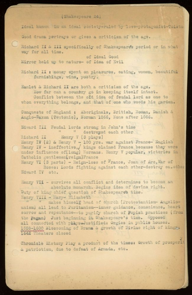 COLLEGE COURSE NOTES, probably circa 1937. Approximately fifty leaves, one leaf typed on recto and handwritten on verso, the rest handwritten on both sides, a few notes in shorthand. Donald A. Wollheim.