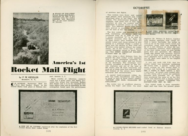 Rocket Mail, THE AIRPOST JOURNAL. October 1935 ., Walter J. Conrath, number 1 volume 7.