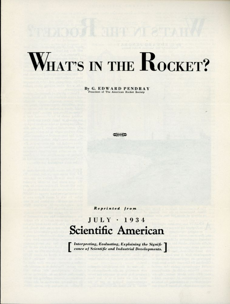 WHAT'S IN THE ROCKET? ... [cover title]. G. Edward Pendray.