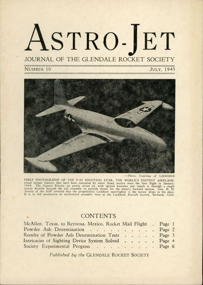 ASTRO-JET: JOURNAL OF THE GLENDALE ROCKET SOCIETY. July 1945, number 10.