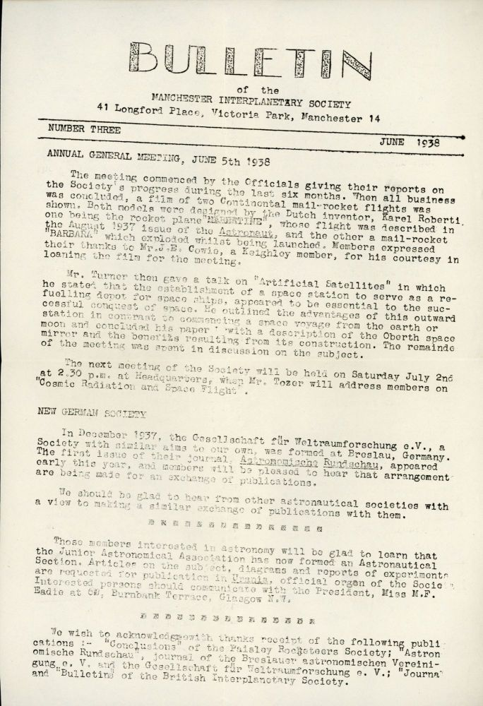 BULLETIN OF THE MANCHESTER INTERPLANETARY SOCIETY. June 1938 ., Eric Burgess, number 3.