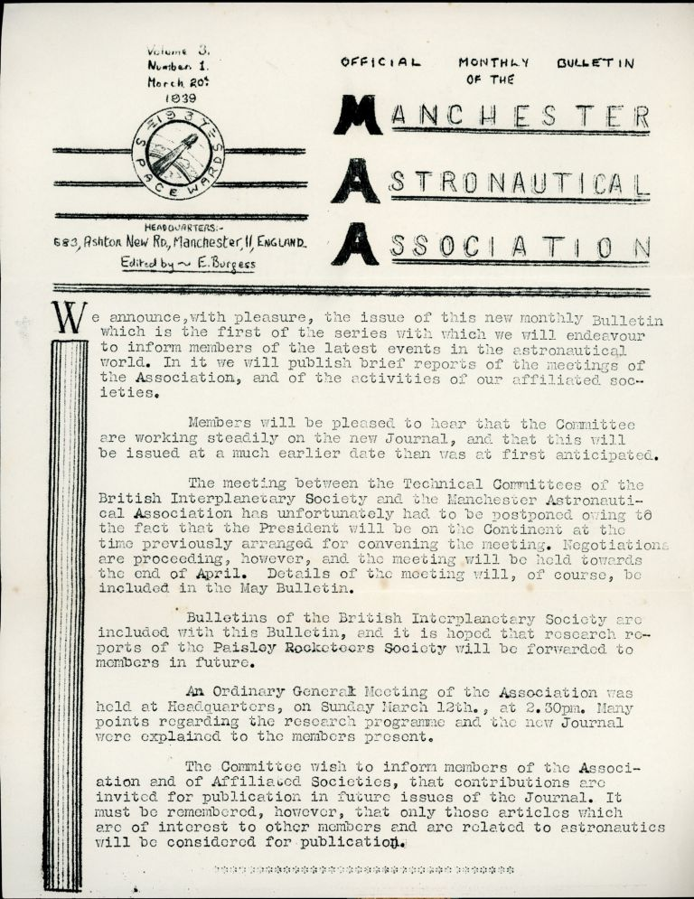 OFFICIAL MONTHLY BULLETIN OF THE MANCHESTER ASTRONAUTICAL ASSOCIATION. 20 March 1939 ., Eric Burgess, number 3 volume 3.