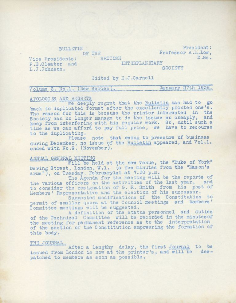 BULLETIN OF THE BRITISH INTERPLANETARY ASSOCIATION . 27 January 1938 ., E. J. Carnell, NEW SERIES, number 1 volume 2.