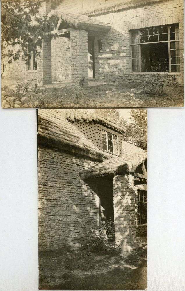TWO PHOTOGRAPHS OF AUGUST DERLETH'S RESIDENCE, PLACE OF HAWKS, TAKEN IN 1940 BY EPHRAIM BURT TRIMPEY. August Derleth, Ephraim Burt Trimpey.