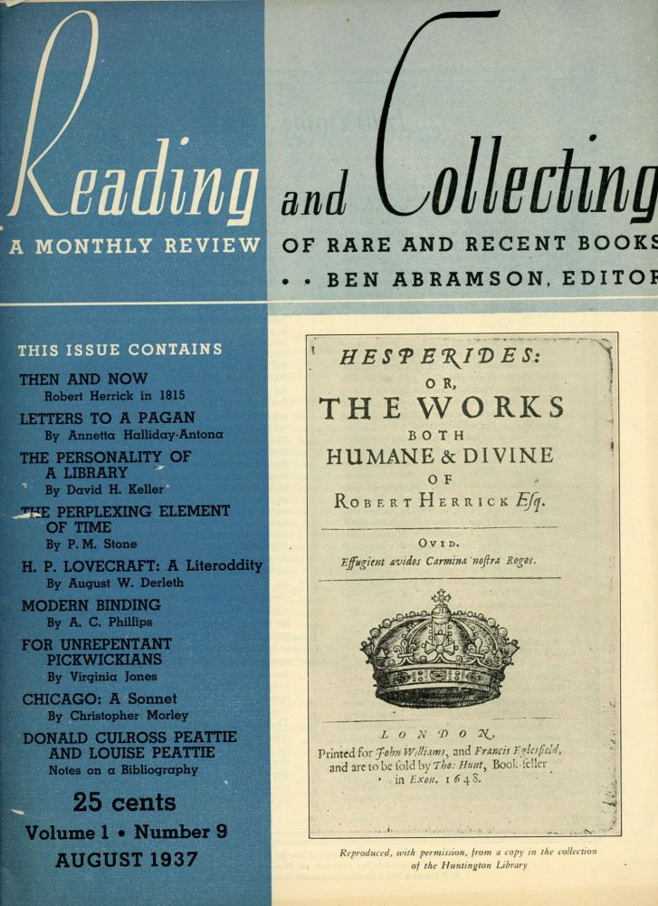 """Master of the Macabre, A"" In: READING AND COLLECTING: A MONTHLY REVIEW OF RARE AND RECENT BOOKS. August 1937 (volume 1, number 9). August Derleth."