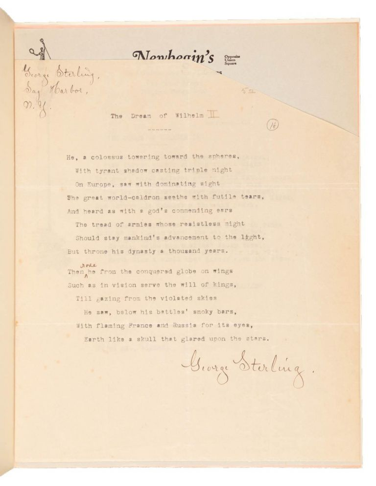 69 TYPED MANUSCRIPT POEMS (TMsS.), EACH SIGNED BY STERLING. George Sterling.