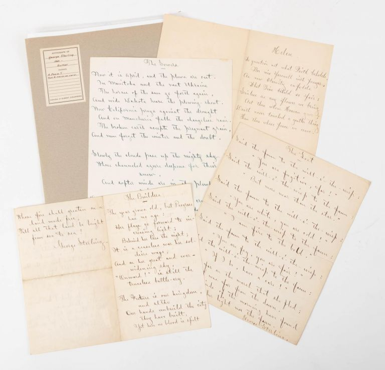 "FIVE HANDWRITTEN MANUSCRIPT POEMS (AMsS.), EACH SIGNED BY STERLING: ""THE BUILDERS,"" ""COMPENSATION,"" ""HELEN,"" ""THE LOST"" and ""THE SOWERS."" George Sterling."