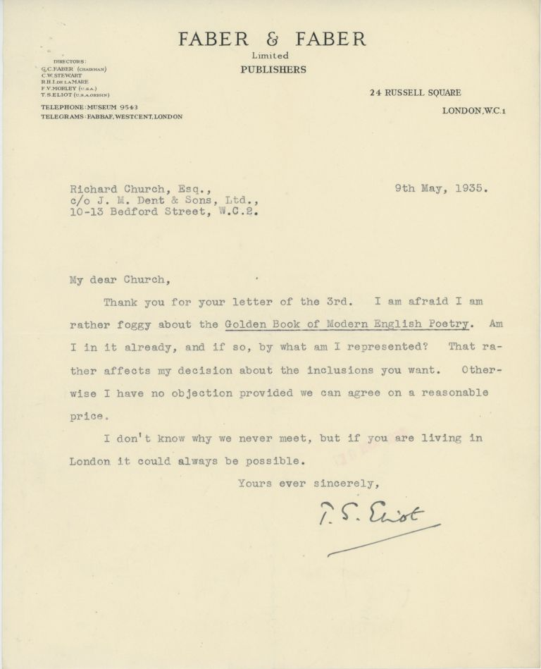 THE J. M. DENT AND SONS RIGHTS AND PERMISSIONS ARCHIVE: A SAMPLER OF LETTERS FROM A WIDE SELECTION OF MAJOR TWENTIETH CENTURY BRITISH LITERARY AND POPULAR FICTION WRITERS. J. M. Dent, Sons, T. S. Eliot, W. B. Yeats, J. R. R. Tolkien, James Joyce, Graham Greene, many others.