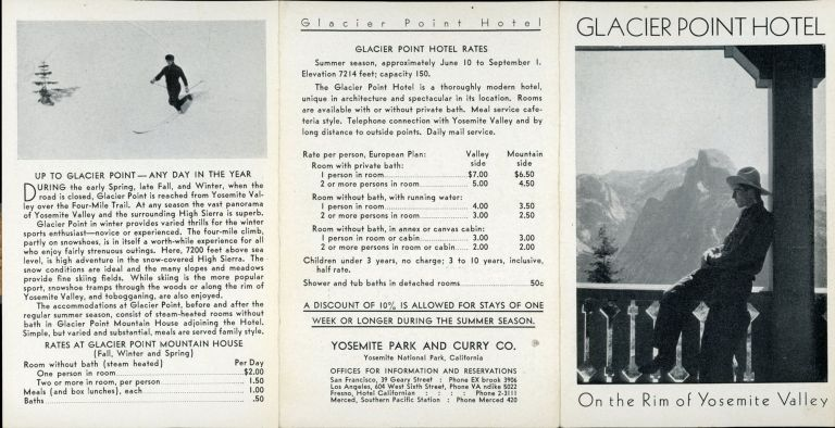 Glacier Point Hotel on the rim of Yosemite Valley [cover title]. YOSEMITE PARK AND CURRY COMPANY.
