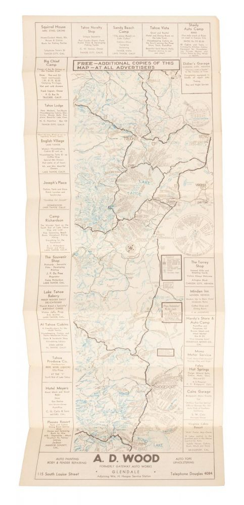 Tourist map of the eastern High Sierra from Sierraville, California, south to Olancha, California [title supplied]. HAYDEN MAP CO.