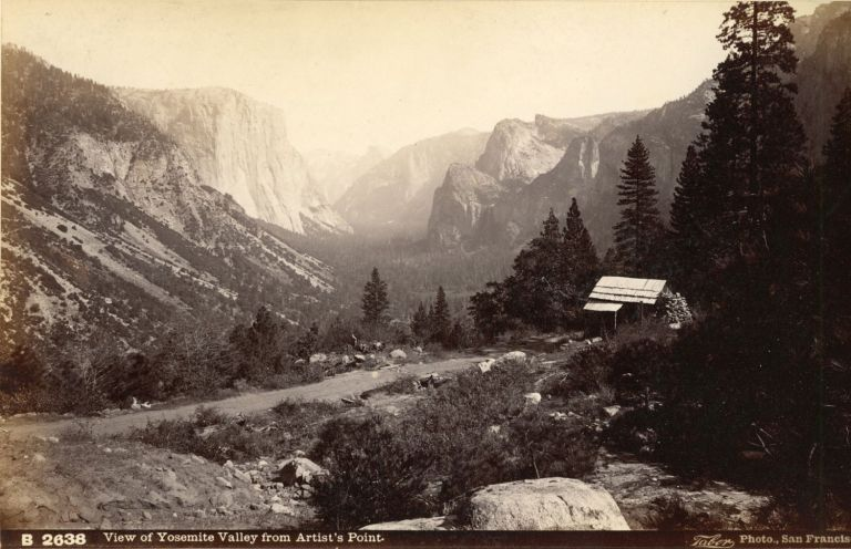 [Yosemite Valley] View of Yosemite Valley from Artist's Point. Albumen photograph. ISAIAH WEST TABER.