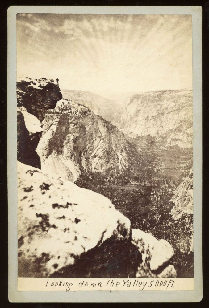 [Yosemite Valley] Looking down the valley 5000 ft. Albumen print. GUSTAV FAGERSTEEN.