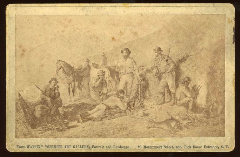 [California; Mining Industry] Untitled; reproduction of a drawing of California miners at rest. Albumen print. CARLETON E. WATKINS.