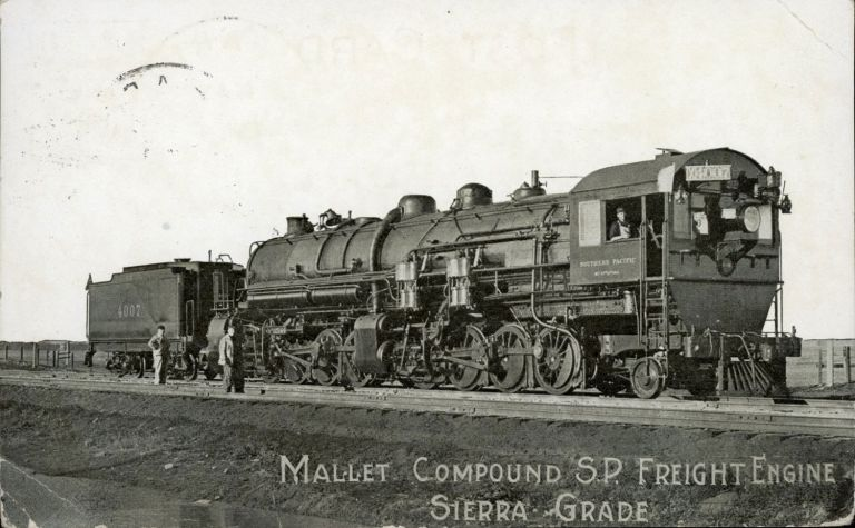 [Railroads; Southern Pacific; Sierra Nevada] Mallet compound S. P. freight engine Sierra grade. Real photo post card (RPPC). ANONYMOUS PHOTOGRAPHER.