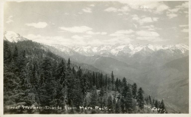 [Sequoia National Park] Great Western Divide from Moro Rock. Real photo postcard (RPPC). LINDLEY EDDY STUDIOS.