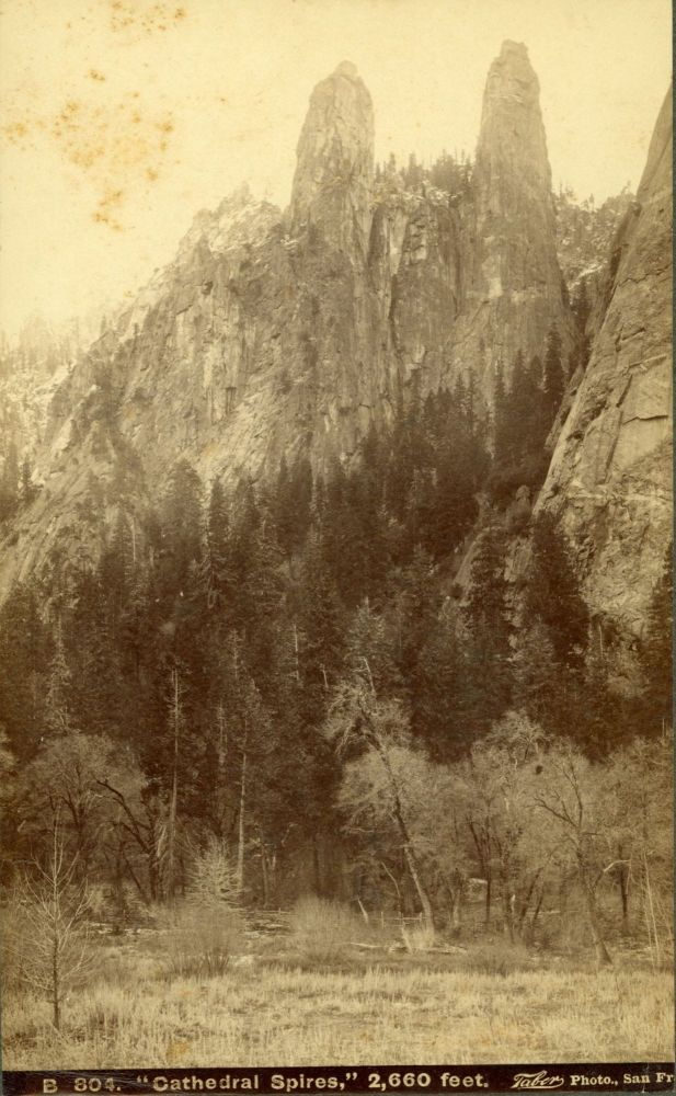 """[Yosemite Valley] """"Cathedral Spires,"""" 2,660 feet. Albumen cabinet photograph. ISAIAH WEST TABER."""