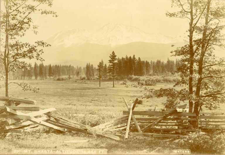 [Mount Shasta] Mt. Shasta -- Altitude 14.444 ft. Albumen print. R. J. WATERS.