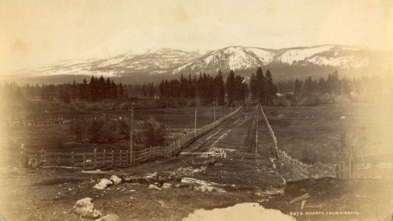 [Mount Shasta] Shasta from Sissons. Albumen print. JAMES WILLIAM? ANONYMOUS PHOTOGRAPHER. BUEL.