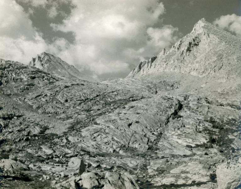 [High Sierra] Muir Pass [title supplied]. Gelatin silver print. ANONYMOUS PHOTOGRAPHER.