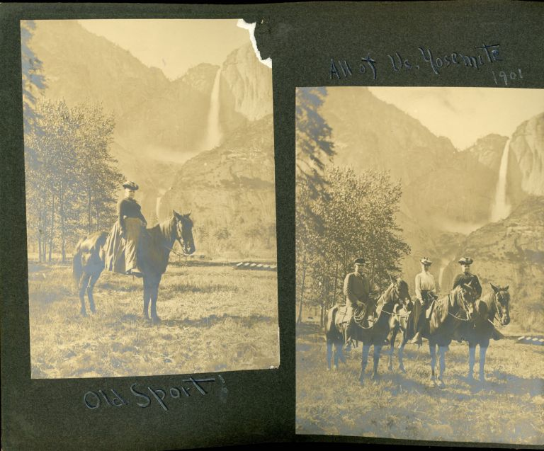 [Yosemite National Park] An album of photographs recording a vacation in Yosemite National Park in 1901, a mixture of professional photographs, many by George Fiske, and photographs taken by the visitors. GEORGE FISKE, SEVERAL ANONYMOUS PHOTOGRAPHERS.